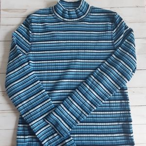 NORTHERN REFLECTIONS Striped Blue Turtleneck